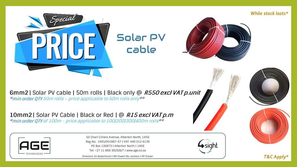 BIG Savings on Solar PV Cables